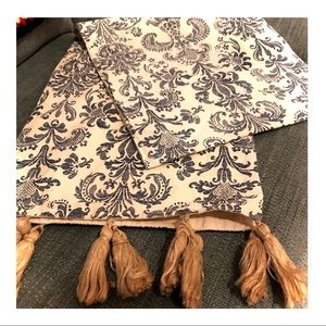 Blue/Off White Table Runner with Jute Tassels
